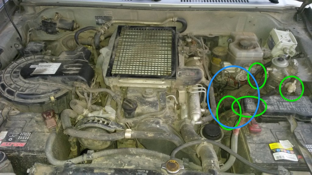 Blue: Space available to install heater. Green: Parts that need refitting.